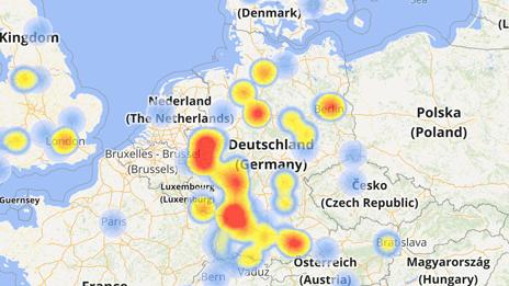 Die Verteilung der Kontakte als Heatmap dargestellt
