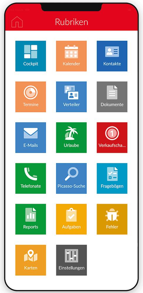 Die Bedienungsoberfläche mit den neu gestalteten App-Icons.