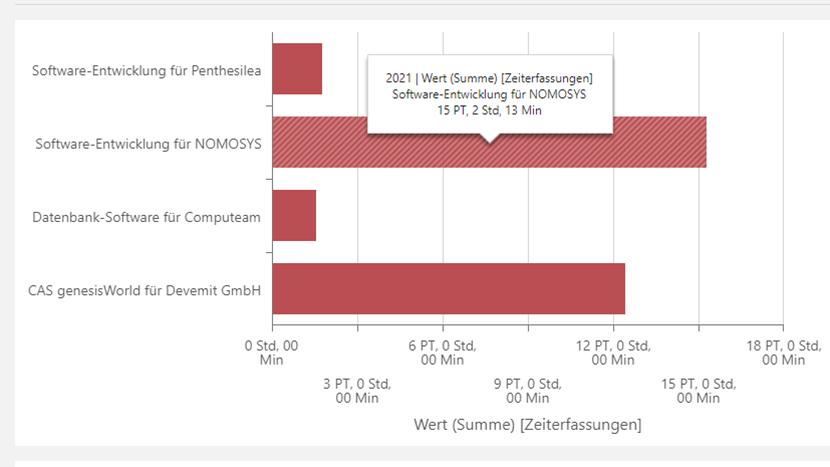 Auswertung von Projekten anhand erfasster Arbeitszeiten