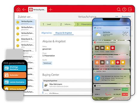 Alle wichtigen CRM-Informationen dank neuer Widgets jederzeit auf Ihrer Apple Watch oder Android Wearables verfügbar